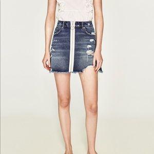 ZARA Ripped Denim Skirt with White Zipper